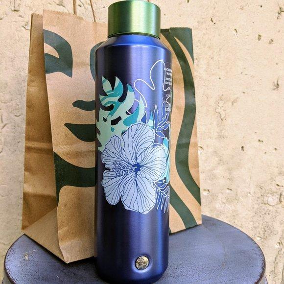 NWT Starbucks Blue White Hibiscus Flower Bottle
